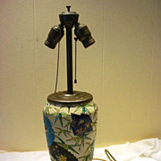 Antique French Majolica  Repurposed Vase Table Lamp