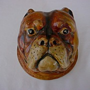 Victorian English Bull Dog Hand Painted Plaster Face Wall Plaque Figurine