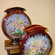 Pair Stunning French Majolica Vases Belle Epoque