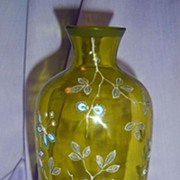 SOLD Yellow-Green Blown Glass Vase w/ Enamel Flowers c.1880