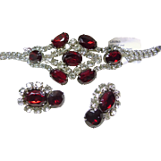Vintage Rhinestone Demi-Parure in Red and White Rhinestones
