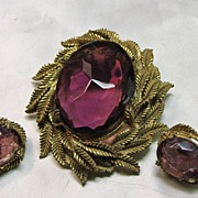 Broach and Earring Set with Amethyst Glass Stone in Brass