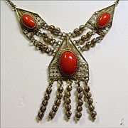 REDUCED Coral and Vermeil Filigree Necklace