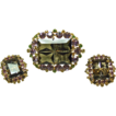 Unusual Demi-Parure -Smoke Color Emerald Cut Stone Surrounded by Purple,Yellow and Green Rhinestones