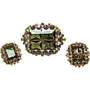 Unusual Demi-Parure -Smoke Color Emerald Cut Stone Surrounded by Purple,Yellow and Green Rhine