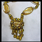 REDUCED Golden Foil Glass Bead Necklace
