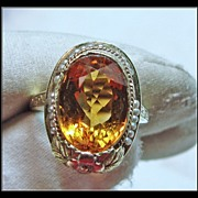 Vintage 3-Color Gold Filigree Ring with Stunning Citrine and Natural Seed Pearls
