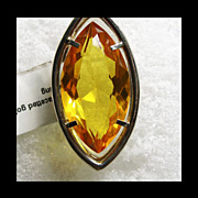 Pendant with Facetted Amber in Sterling Silver