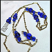 Cobalt Blue Beads and Gold Over Brass Necklace