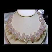 Natural Rose Quartz Necklace with White Quartz Accent Stones