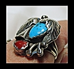 Turquoise , Coral and Sterling Silver Ring