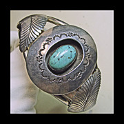 SALE Kingman Turquoise and Sterling Silver Cuff Bracelet with Silver Overlay
