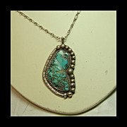 Large Pendant with Blue Green Turquoise Nugget in Sterling Silver on Sterling Chain