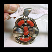 Sterling Silver Pendant with Deep Red Coral