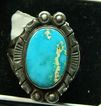 Vintage Blue Green Turquoise Sterling Silver Ring