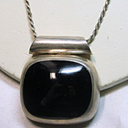 Heavy Cushion Cut  Black Onyx Necklace Set in Sterling Silver