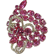 Weiss Hot Pink Rhinestone Broach with Small White Rhinestone Accent Stones