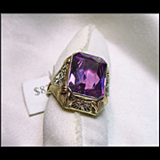 Superb Triple Color Gold and Amethyst Ring