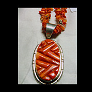 Brilliant Orange Spiney Oyster Inlay Pendant with Matching Necklace