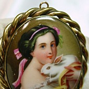SALE Victorian Gold Over Brass Broach Portrait of a Woman Holding a Bunny
