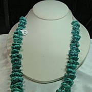 REDUCED Impressive 29 Inch Turquoise Nugget and Heishi Necklace