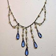 1920s-1930s Festoon Style Necklace with Blue Glass Crystals and Faux Pearls
