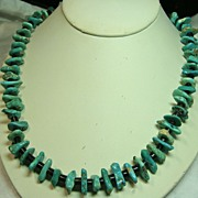 REDUCED Native American Green Turquoise Tab Necklace with Penn Shell Heishi