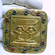 Late Victorian Gold over Brass Broach with Wings Of Isis and Winged Goddesses