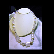 Pale Rose Quartz Beads and Pearl Necklace with Sterling Silver