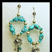 Round Turquoise Hoop Earrings with Sterling Fetish Charms