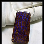 Web of Deep Blue Opal in an Ironstone  Boulder Pendant with Sterling Chain
