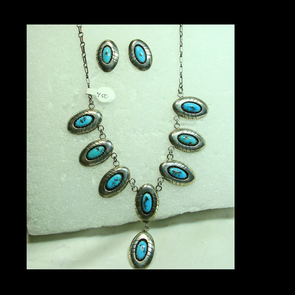 Turquoise and Sterling Silver Shadowbox Necklace and Earrings