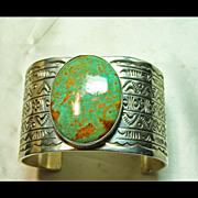 REDUCED Nevada Turquoise in a Sterling Silver Cuff  Bracelet with 7 Rows of Hand Stamped Desig