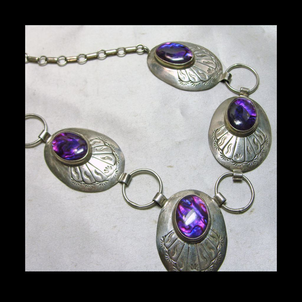 Sterling Link Style Necklace with Stamped Decoration