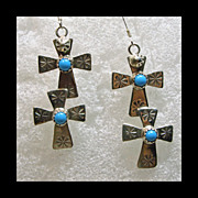 Sterling Silver Double Cross Earrings with Turquoise
