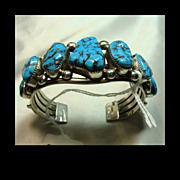 Sterling Silver Cuff Bracelet with Brilliant Blue Turquoise