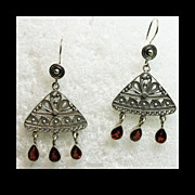 Sterling Silver Filigree and Garnet Drop Style Earrings