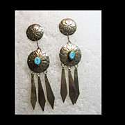 3 Inch Sterling Silver Double Concho Earrings with Turquoise