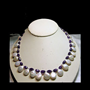 Amethyst and Freshwater Coin Pearls Bead Necklace