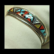 Zuni Sterling Silver Cuff Bracelet with Stone on Stone Inlay
