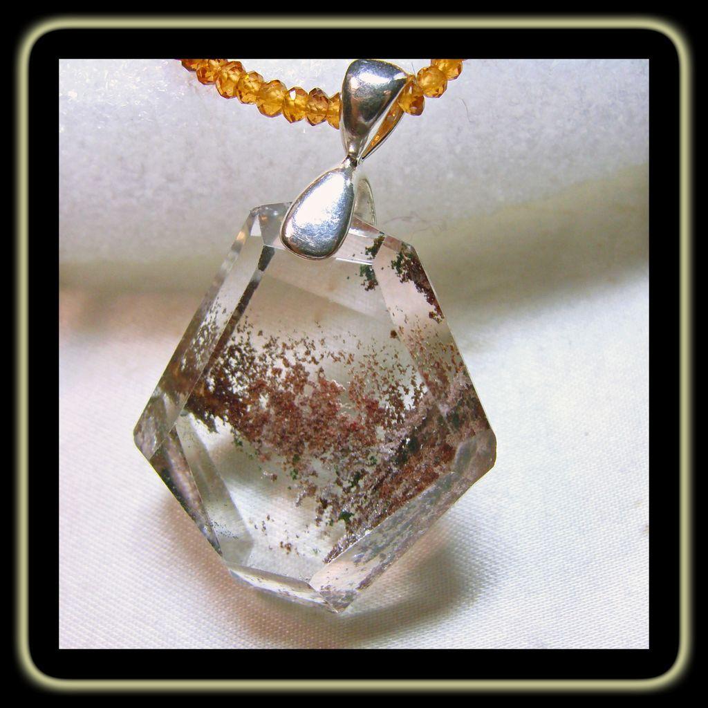 lodolite pendant on hessonite garnet necklace from