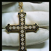 Double Sided Enamel Cross in Gold Tone Metal