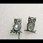 Sterling Silver Earrings in an Owl Design with Moonstone Cabochons