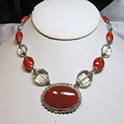 REDUCED Czech Choker Necklace of Faux Carnelian and Crystal