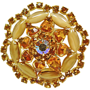 Weiss Broach with Carmel Color Cat's Eye and Citrine Color Rhinestones