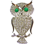 Large Owl Rhinestone Broach/Pendant