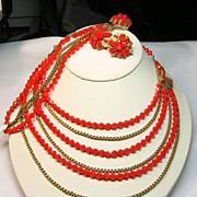 REDUCED Hobe Brilliant Orange and Gold Parure