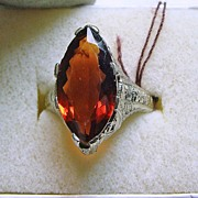 Fantastic Madeira Citrine Ring in 14K White Gold Filigree Setting