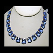 SALE 1930s Czech Necklace of Brass and Blue Glass