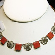 REDUCED Czech Faux Carnelian and Filigree Brass Necklace